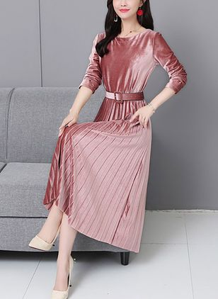 Solid Long Sleeve Maxi A-line Dress