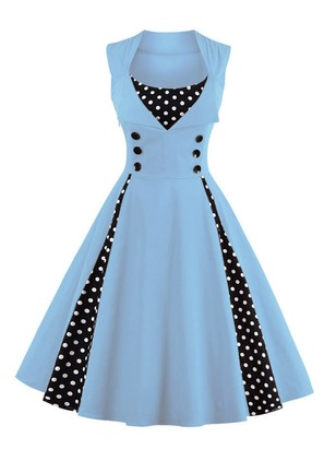 Polka Dot Buttons Sleeveless Knee-Length A-line Dress