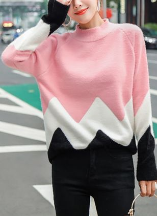 High Neckline Color Block Loose Regular Shift Sweaters Sweaters