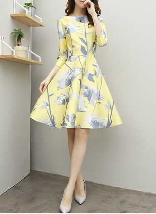 Floral Ruffles Skater Knee-Length A-line Dress