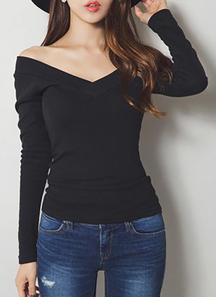 Solid V-Neckline Long Sleeve Elegant T-shirts