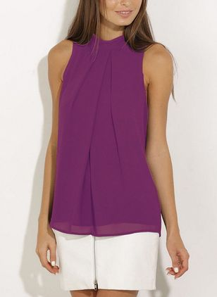 Solid Casual High Neckline Sleeveless Blouses