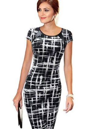 Vrouwen bandage bodycon mini mouw avond sexy party cocktail potlood korte jurk