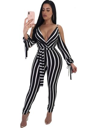 Stripe Long Sleeve Jumpsuits & Rompers