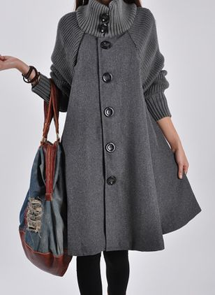 Long Sleeve Funnel Neck Buttons Coats