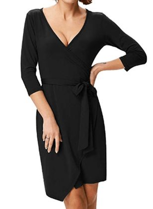 Solid Hollow Out Wrap Knee-Length A-line Dress