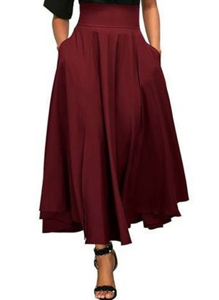 Solid Maxi Casual Ruffles Bow Pockets Skirts
