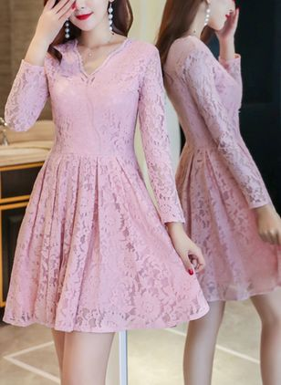 Solid Lace Long Sleeve Above Knee Dress