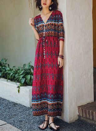 Color Block Peasant 3/4 Sleeves Maxi Shift Dress