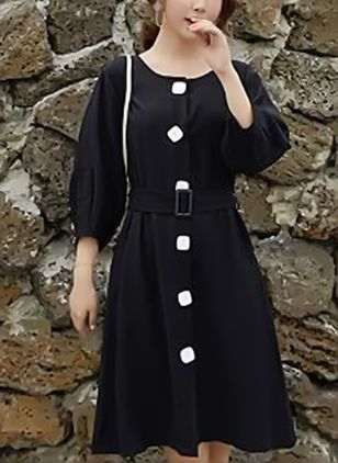 Solid 3/4 Sleeves Knee-Length Shift Dress