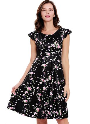 Floral Ruffles Cap Sleeve Knee-Length Dress
