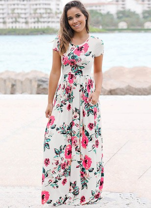Floral Cap Sleeve Maxi A-line Dress