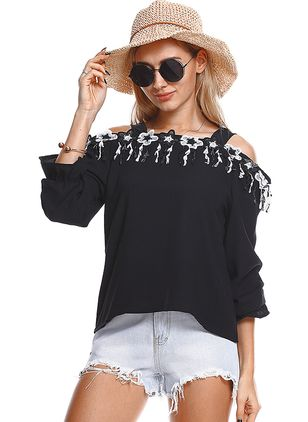 Solid Elegant Others Long Sleeve Blouses