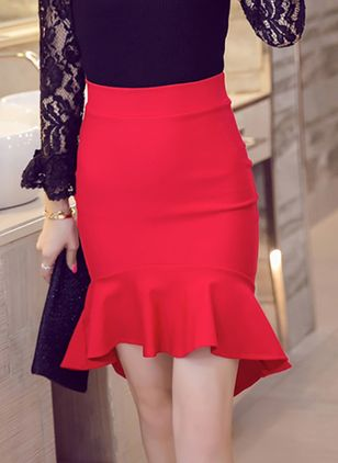 Solid Above Knee Ruffles Skirts