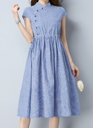 Stripe Short Sleeve Midi A-line Dress