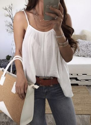 Solid Sexy Sleeveless Blouses