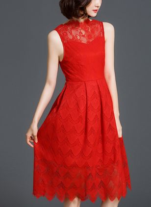 Solid Lace Sleeveless Knee-Length Dress