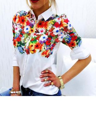 Floral Cute Collar 3/4 Sleeves Blouses