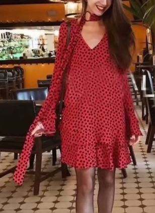 Polka Dot Ruffles Wrap Above Knee Shift Dress