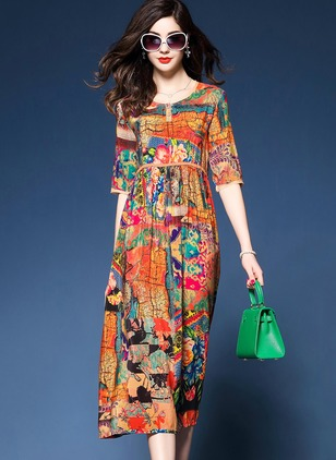Floral Ruffles Half Sleeve Knee-Length A-line Dress