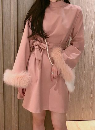 Solid Wrap Long Sleeve Above Knee A-line Dress
