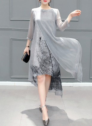 Solid Shirt 3/4 Sleeves High Low A-line Dress