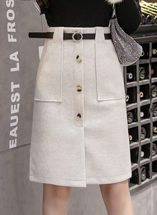 Solid Knee-Length Casual Buttons Pockets Sashes Skirts