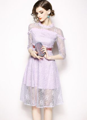 Solid Lace 3/4 Sleeves Knee-Length A-line Dress
