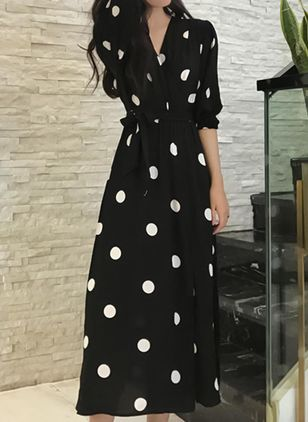 Polka Dot Wrap Long Sleeve Maxi A-line Dress