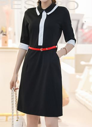 Color Block Long Sleeve Above Knee Sheath Dress
