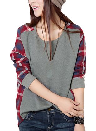 Check Round Neck Long Sleeve Casual T-shirts