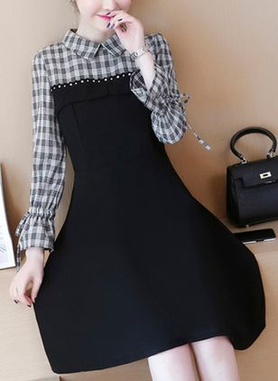 Solid Bow Long Sleeve Knee-Length Shift Dress