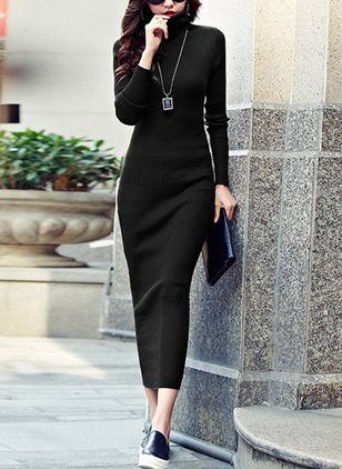 Solid Sweater Long Sleeve Midi Shift Dress