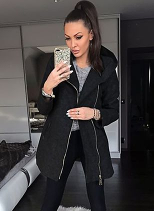 Autumn Winter Women Hooded Long Sleeve Pure Color Casual Zipper Coat Jacket