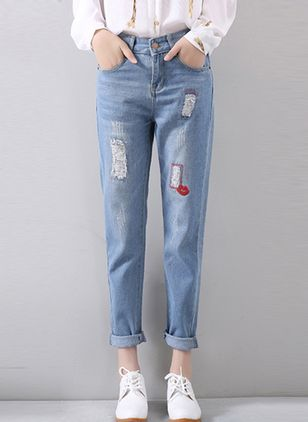 Recht Jeans Damesbroeken&leggings