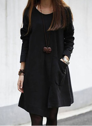 Solid Pockets Long Sleeve Knee-Length A-line Dress