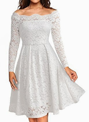 Solid Lace Skater Knee-Length A-line Dress