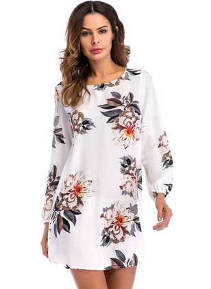 Floral Hollow Out Long Sleeve Above Knee Shift Dress