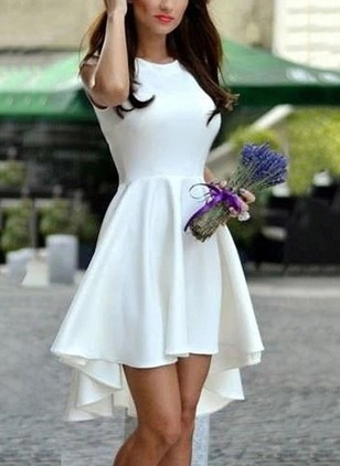 Solid Ruffles Sleeveless High Low A-line Dress
