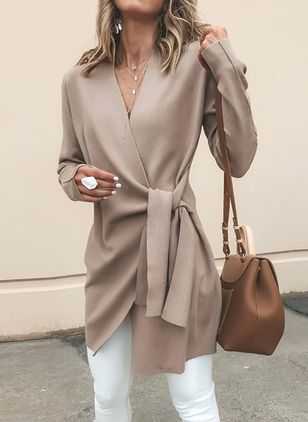 Long Sleeve V-neck Sashes Coats