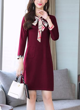 Solid Pockets 3/4 Sleeves Above Knee Shift Dress