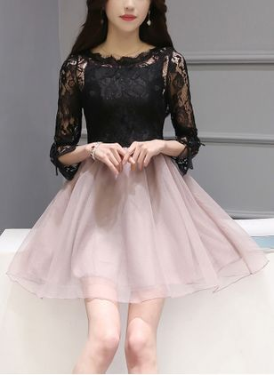 Solid Lace 3/4 Sleeves Above Knee A-line Dress