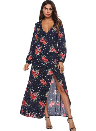 Floral Wrap Long Sleeve Maxi Shift Dress