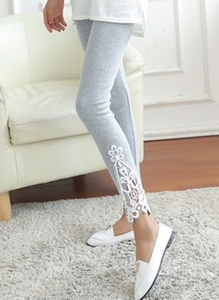 Womens Bottom Triangle Lace Stiching Hollow Cropped Leggings Pencil Pants