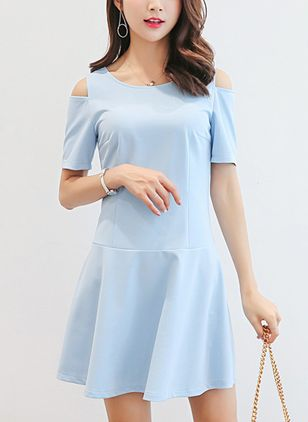 Solid Ruffles Drop waist Above Knee Shift Dress