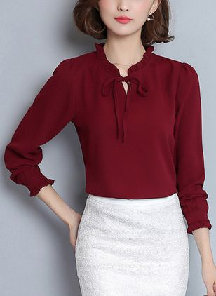 Solid Elegant High Neckline Long Sleeve Blouses