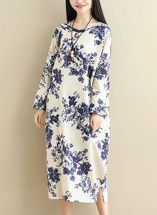 Floral Long Sleeve Midi Shift Dress