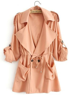 3/4 Sleeves Lapel Buttons Pockets Trench Coats