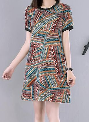 Geometric Tshirt Short Sleeve Above Knee Shift Dress