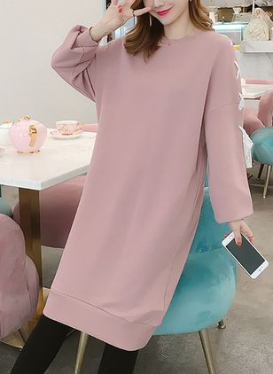 Color Block Sweatershirt Long Sleeve Knee-Length Shift Dress